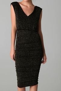 Alice + Olivia Glitter Mid Length Ruched Dress S